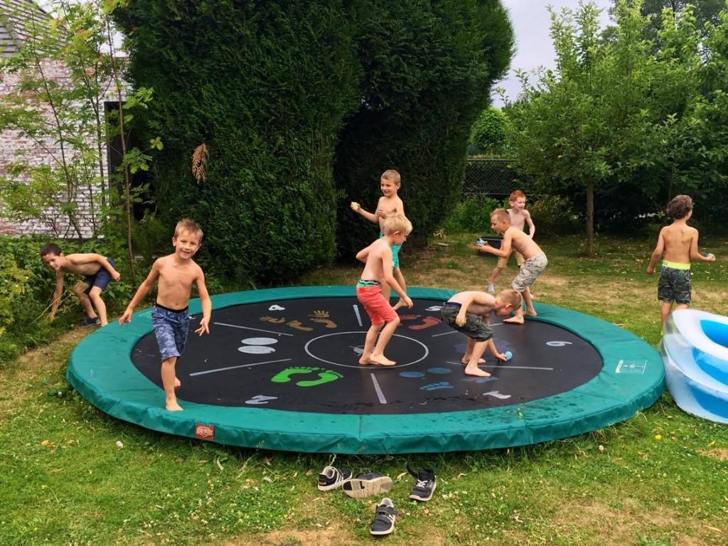 trampoline, berg, feest
